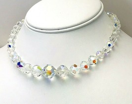Vintage Faceted Graduated Clear AB Glass Crystal Choker Necklace - $37.62