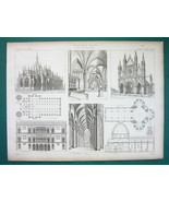 ARCHITECTURE PRINT 1864 - Italy Gothic Cathedrals Duomo Milan Venice Cas... - $19.80