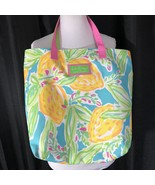 Lilly Pulitzer Beach Tote Floral Double Straps Blue Yellow For Estee Lau... - $22.77