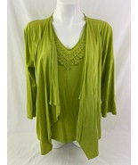 RQT Women Green Large Top Beaded Sweater Cover Casual Business - $10.88