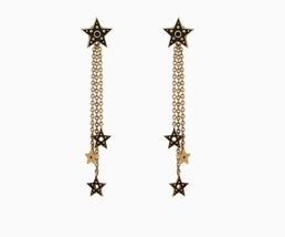 "AUTH NEW Christian Dior ""Dior Or"" STAR DANGLE TASSLE DROP EARRINGS AGED GOLD"