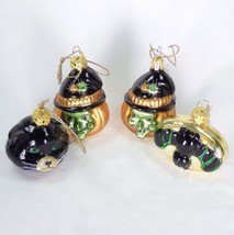 Hallmark Halloween Blown Glass Witch Bat Black Cat Ornaments Lot of 4 De... - $29.95