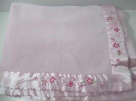 Carters Child of Mine Pink Baby Blanket corner embroidered flowers satin trim   - $49.49
