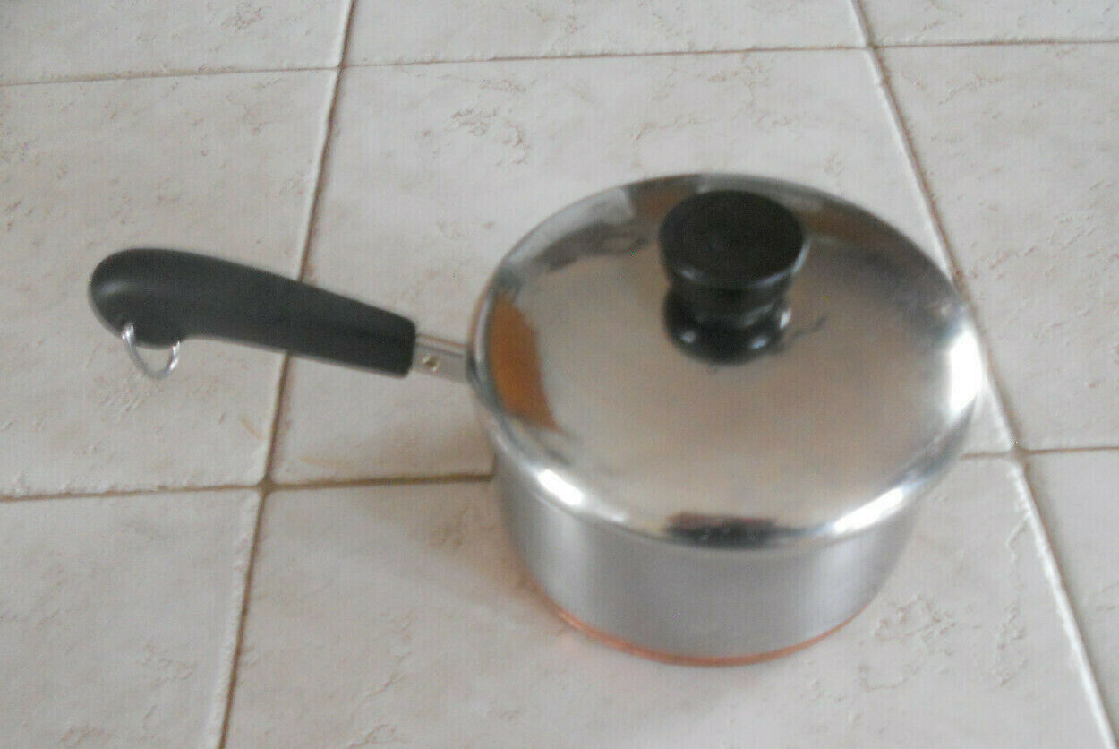 Vintage REVERE WARE 1 1/2 Quart Sauce Pan & Lid Stainless & Copper Bottom #99J - $24.99