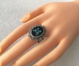 Vintage Black Stone w/ Blue Butterfly Silver Tone Filigree Open Back Rin... - $13.69