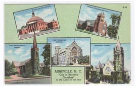 City of Churches Asheville North Carolina linen postcard - $5.94