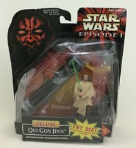 Deluxe Qui-Gon Jinn Action Figure Lightsaber Star Wars Episode 1 Hasbro ... - $10.84