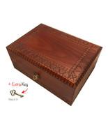 Large Wooden Handmade HEART BOX Jewelry Box Keepsake w/Lock & Key Made i... - $62.36