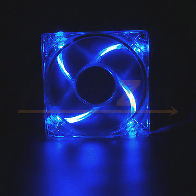 80mm 4-LED Light Neon Quite Clear PC Computer case Bearing Fan Cooling WHITE Mod