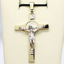 18K YELLOW WHITE GOLD CROSS, JESUS & SAINT BENEDICT MEDAL BIG 2.1 INCHES, ITALY  image 3