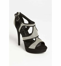 Jessica Simpson Bruno Sandal Womens Black and Silver Open toe Heels Size... - $24.75