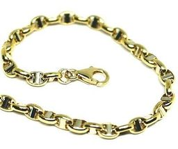 """18K YELLOW WHITE GOLD CHAIN SAILOR'S NAUTICAL MARINER BIG OVAL 4mm LINK, 24"""" image 3"""
