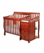 Cherry Mini Size Convertible 4-in-1 Crib Bed Baby Toddler Nursery Change... - $418.67