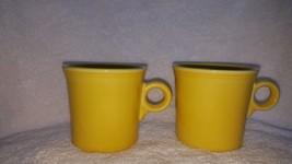 Fiesta Ware Sunflower Yellow Tom Jerry Set 2 Coffee Mug HCL Laughlin Rin... - $15.99