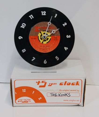 Vinylux Vintage Vinyl 45 RPM Record Clock The Kinks Its All Right