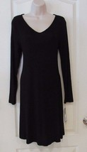 Apt. 9® Long Sleeve V-neck A-Line Dress BLACK TIE Women's Sz. S NWT MSRP$40 - $27.39