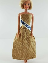 Barbie Clone Shimmer Gold Miss Universe Gown 1970s Clothing - $29.69