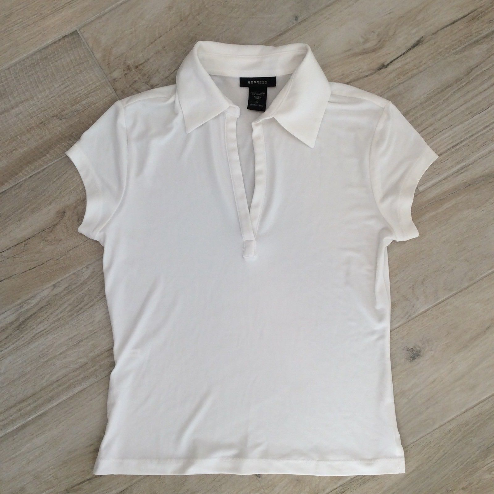 Primary image for Express COLLARED DRESSY TEE white S