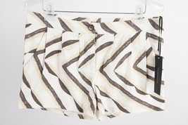 Thakoon Women's Shorts Sz 10 Tan Brown Beige Zig Zag Striped Printed NWT - $49.49