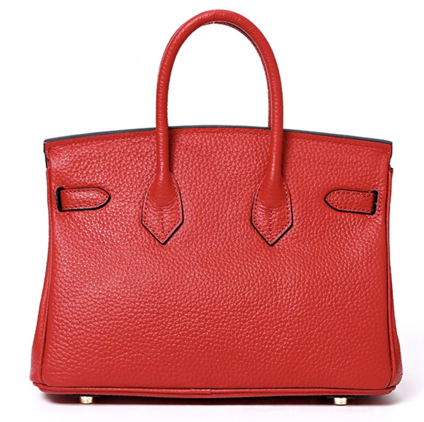 New 30cm Pebbled Leather Birkin Style Handbag Shoulder Bag Satchel Purse 1946M