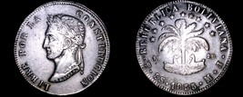 1855-PTS MJ Bolivian 8 Soles World Silver Coin - Bolivia - $114.99