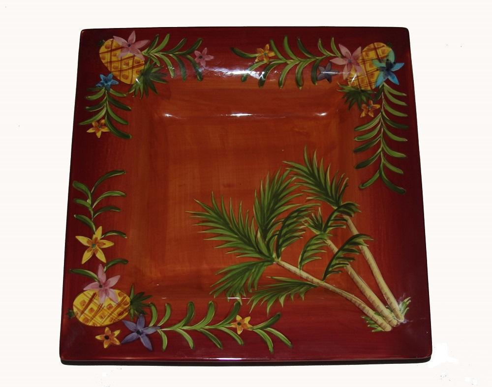 """Laurie Gates Large Pineapples & Flowers 14"""" Square Deep Handpainted Platter NWOT - $34.99"""