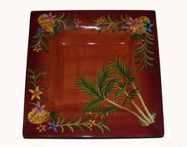 "Laurie Gates Large Pineapples & Flowers 14"" Square Deep Handpainted Plat... - $34.99"