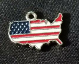 UNITED STATES SHAPED FLAG EPOXY ENAMELED FINE PEWTER CHARM PENDANT image 1