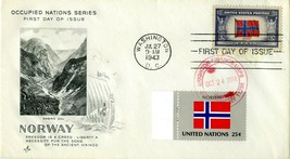FIRST DAY COVER 1943 OVERRUN NATIONS FLAGS NORWAY THE WORLD WAR II VALUE... - $27.00