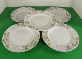 Herend Hungary Village Pottery Blue TRELLIS Salad Plate (s) LOT OF 5 Floral - $34.60