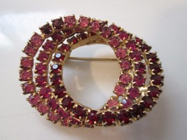 Vintage Brooch Rhinestone Ruby Pink Circles Pin EXCELLENT - $24.75