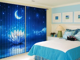 3D Moonlight Lotus Star 36 Blockout Photo Curtain Print Curtains Drapes US Lemon - $177.64+
