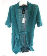 NWT Guess Los Angeles Designer Teal Lake Cotton Belted Sweater Cardigan ... - $68.00