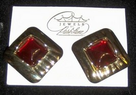 """~PARK LANE JEWELS~ Stylish """"Red 'n Ready""""~Gold Clip-On Earrings~NEW w/o ... - $8.88"""