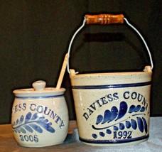 Daviess County Westerwald Stoneware Honey Pot Lid Stir Stick & Bowl with handle