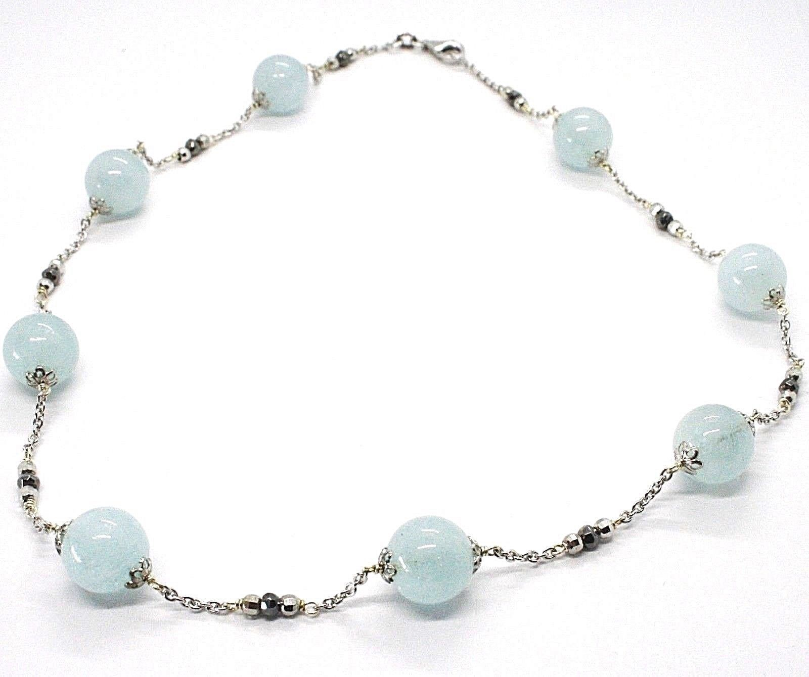 SILVER 925 NECKLACE, AQUAMARINE SPHERES, PIRITE FACETED, CHAIN ROLO'