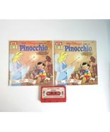 2 Vintage 1977 Pinocchio Walt Disney Storyteller Books and 1 Cassette Ta... - $9.50