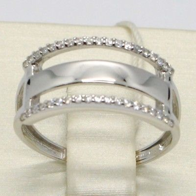 SOLID 18K WHITE GOLD DOUBLE BAND ZIRCONIA RING, BRIGHT, LUMINOUS, MADE IN ITALY