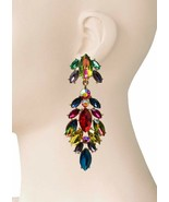 "3.5"" Long Clip On Earrings Multicolor Acrylic Rhinestones, Drag Queen, P... - $18.95"