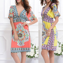 Women South Beach Kaftan Boho Maxi Short Length Cover Up Dress Bohemia V-neck - $11.99
