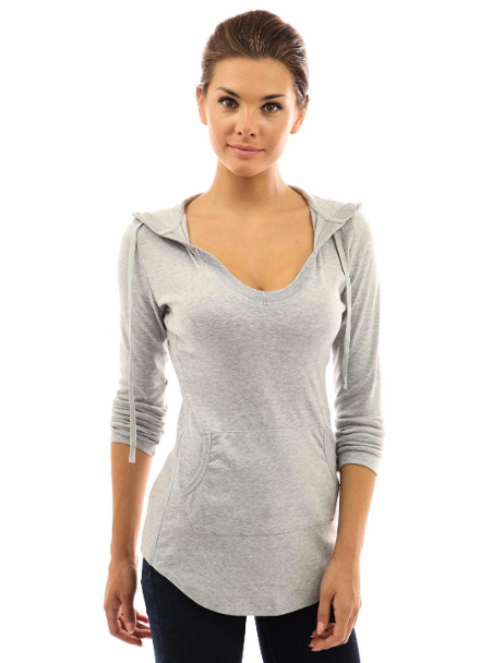 PattyBoutik X-Large (XL) Women's Hoodie Curve Hem Tunic Top Light Heather Grey image 2
