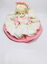 Amy Porcelain Doll - Fibrecraft Crochet Dress White and Pink - $34.30