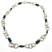 Necklace the Aluminium Long 60 Inch with Hematite Faceted Crystal & image 1