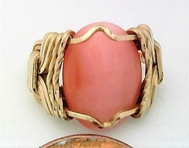 Pink Cat Eye Glass Gold Wire Wrap Ring sz 4 - $48.00