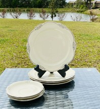 Homer Laughlin Virginia Rose Patrician 7~piece set Luncheon Plates and Saucers - $32.84