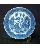 Blue Willow China Miniature Plate with Brass Display Stand Collectible New - $6.83