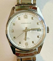 Vintage Caravelle Silver-Tone Swiss Automatic Watch w/ Expansion Bracelet - $69.29