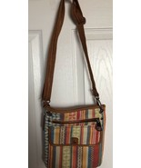 FOSSIL Brand Striped Fabric Shoulder Crossbody Purse-great condition - $14.50