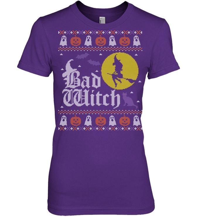 Funny Bad Witch Tshirt Ugly Halloween Sweater Women