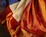 South Indian Designer Kanchipuram Silk sari White with zari border with blouse - $52.49